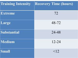 table, training intensity, recovery time
